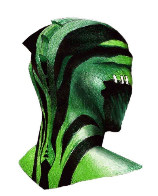 Back of a Drell's Head by alarielle88 on deviantart.
