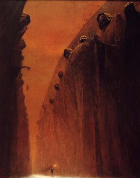 This could very well be Aragorn seeing statues of his Numenorean ancestors on the Anduin River, by Zadislaw Beksinksi.